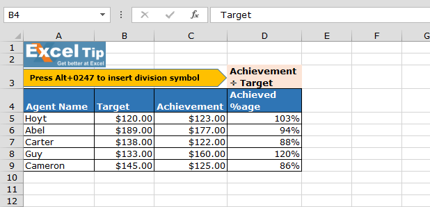 Insert A Division Symbol In Excel Excel Generals