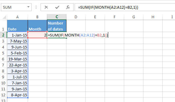 Counting the Number of Dates with Matching Month Criteria