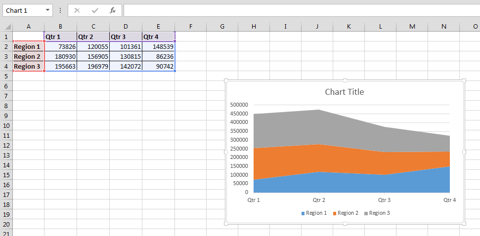 how to create area graph in excel