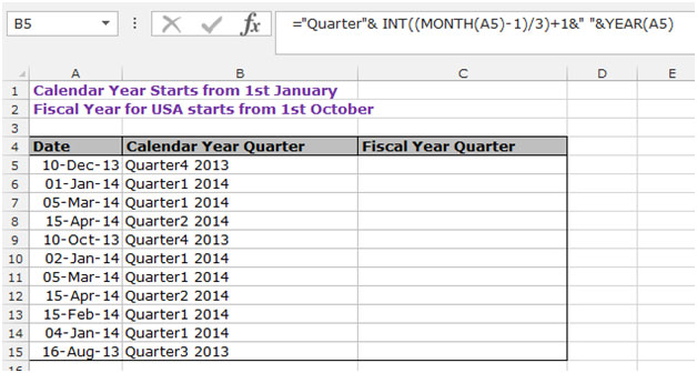 Calendar Monthly Rent Formula : How to calculate the quarter in microsoft excel