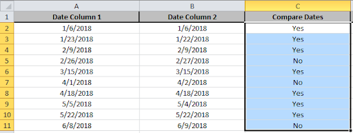 Using If Function to Compare Dates of Two Cells
