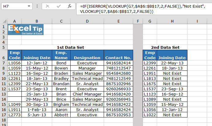 Using ISERROR along with VLOOKUP function  