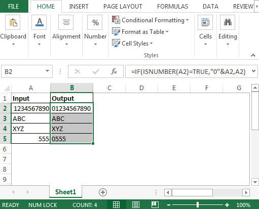 Add One Zero Digit in the Front of Number in Microsoft Excel