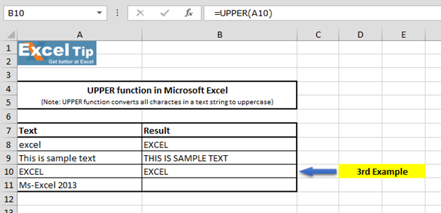 How to use UPPERCASE function in Microsoft Excel