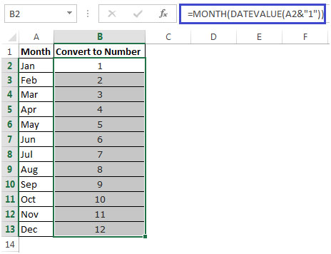 Converting Month Name to a Number in Microsoft Excel