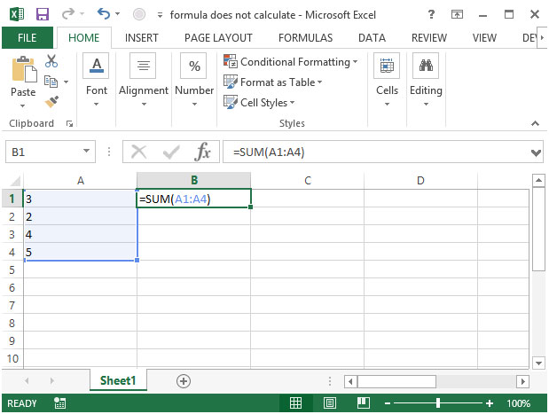 Auto calculate excel not working