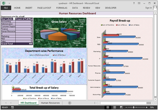 Human Resource Dashboard By Syednazir  Microsoft Excel Tips From