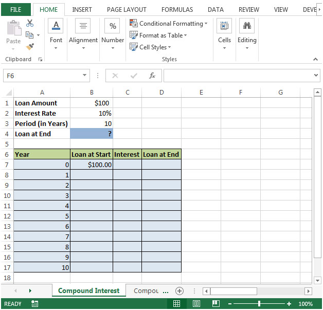 how to create compound interest calculator in microsoft excel microsoft excel tips from excel. Black Bedroom Furniture Sets. Home Design Ideas