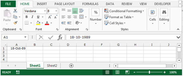 text in excel to date