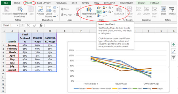 how to add a horizontal line in excel column graph