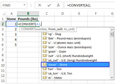 conversion function in excel