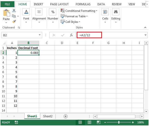 Inches to Decimal | Microsoft Excel Tips from Excel Tip .com ...