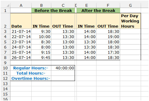 timesheet calculator in microsoft excel 2010 tips