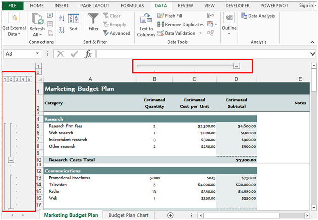 Hiding Group Outline Symbols In Microsoft Excel 2010 Microsoft