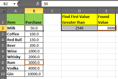 Retrieving the First Value in a List that is Greater / Smaller than