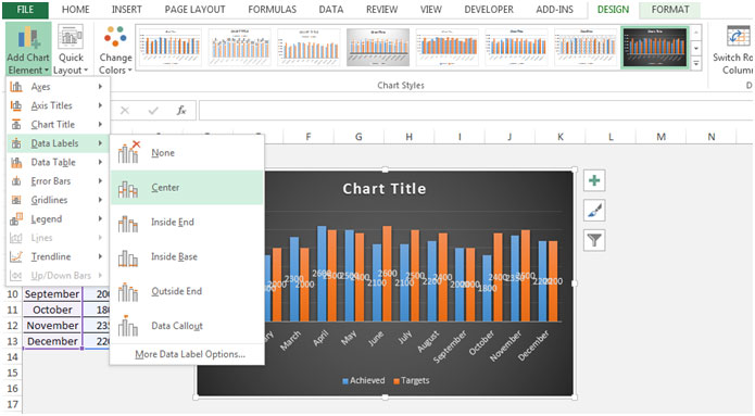 Column Chart in Microsoft Excel 2010