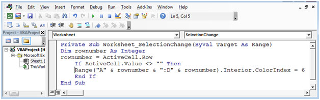How To Change Color Of The Row With A Click Using VBA In