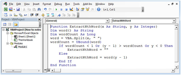 How to Extract Nth Word from Text String Using VBA in
