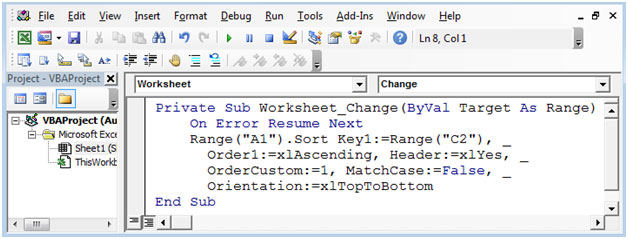 Automatic Sorting As You Enter Dates Using Vba In Microsoft Excel 2010. End Sub. Worksheet. Vba Worksheet Change Range At Mspartners.co