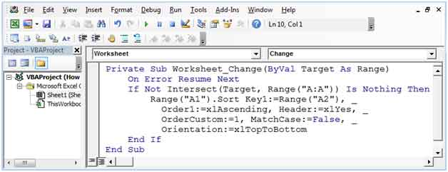 How To Auto Sort Data By Any Column Using VBA in Microsoft Excel – Excel Vba Worksheet Change