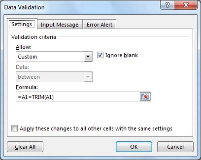 Custom Data Validation