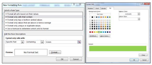 when we select any color name from the dropdown list cell color will get changed