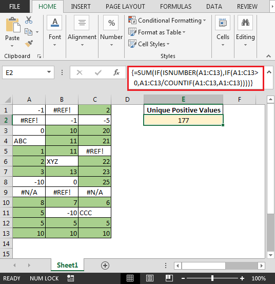Excel Sum Only Positive Numbers