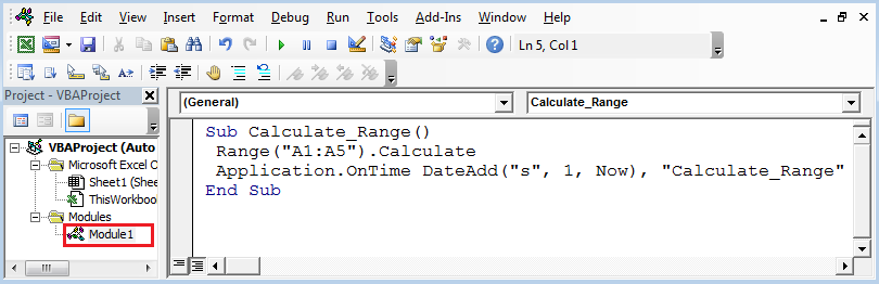 Auto Refresh Excel Every 1 Second Using VBA in Excel