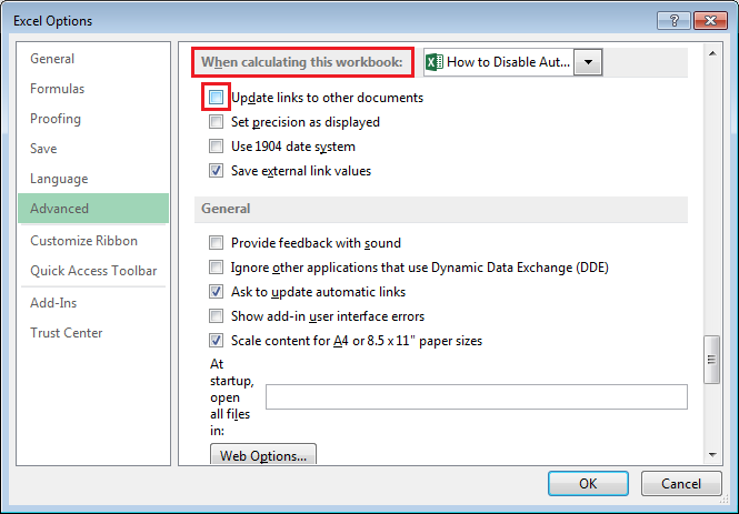 How To Disable Automatic Update Of Links in Excel