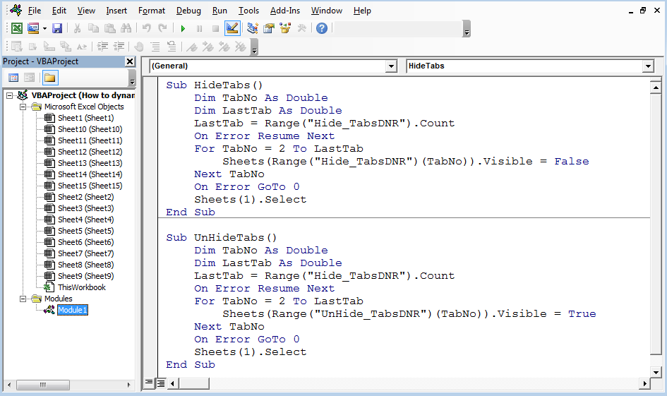How To Dynamically Hide Or Unhide Multiple Tabs Using Vba In Excel Vba
