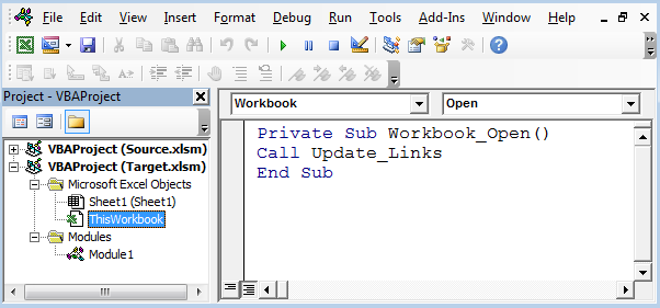 Excel vba links not updating