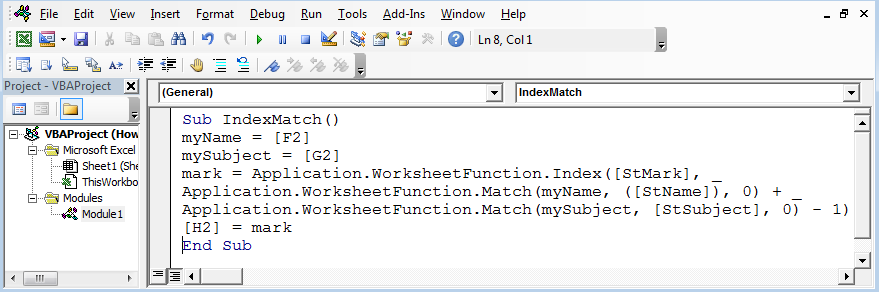 How To Use Index Match For 2 Criterias Using VBA