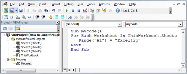 How to Loop Through Each Worksheet & Write Text in Same Cells in ...