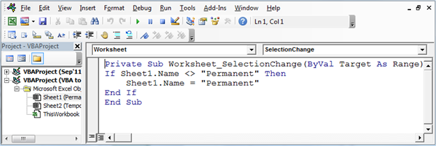 Vba To Prevent From Changing Worksheet Name In Microsoft Excel. After Copying The Code If We Try To Change Name Of Permanent Sheet Then Excel Will Not Allow Us. Worksheet. Vba If Worksheet Name Is Then At Clickcart.co