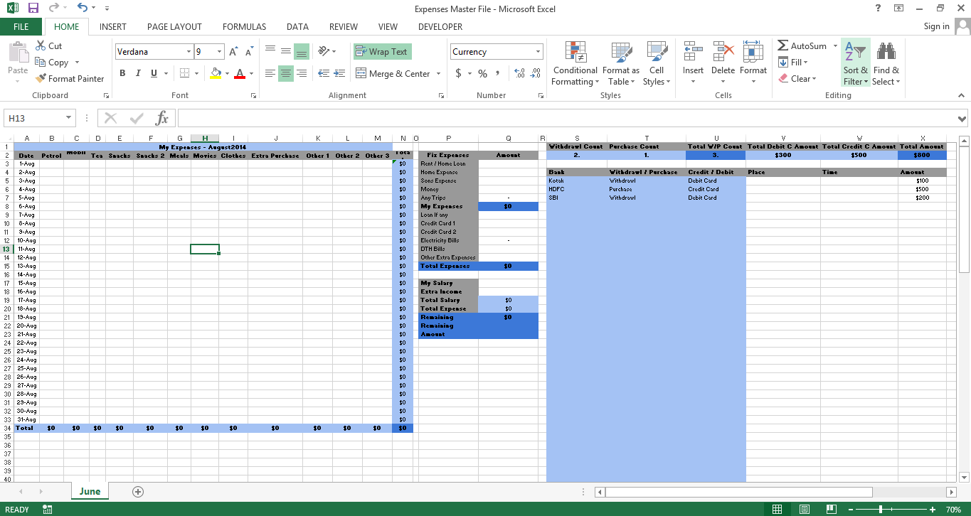 excel templates expenses