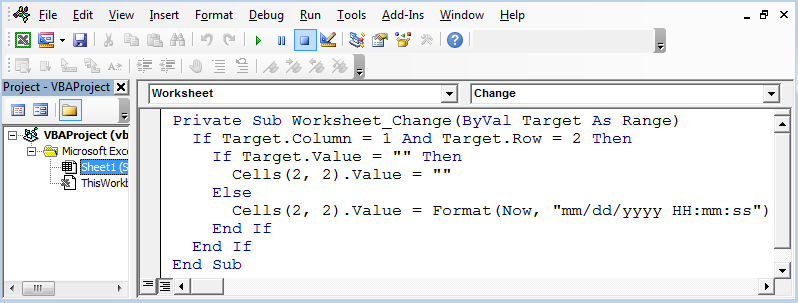 Insert Date Time Stamp with VBA | VBA