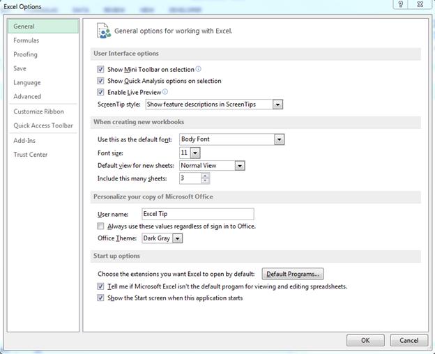 File Tab in Microsoft Excel