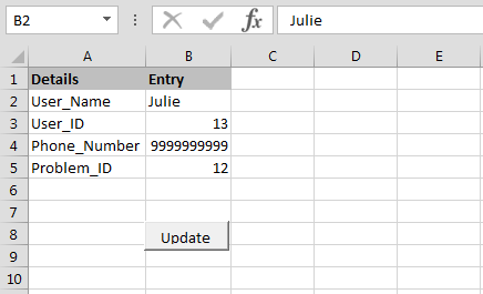 Insert command for updating an excel spreadsheet