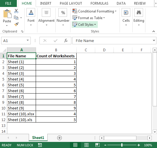 Counting number of worksheets in excel
