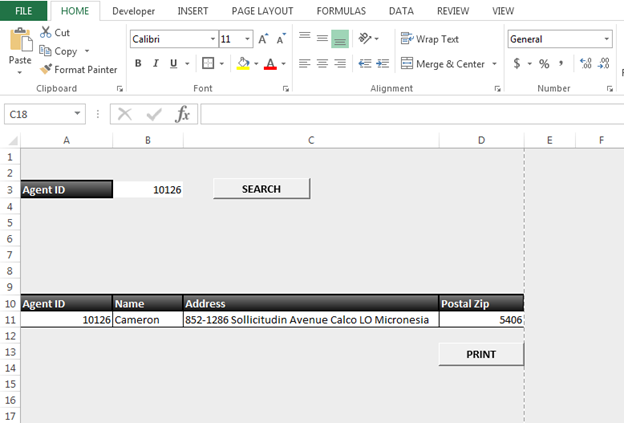 How to Create a Form for Search and Print through VBA in