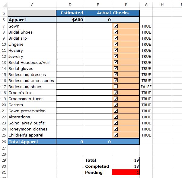 make a checklist in excel