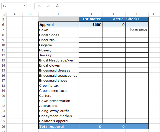 how to use checkboxes to create checklist template in excel