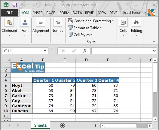 quarter formula in excel