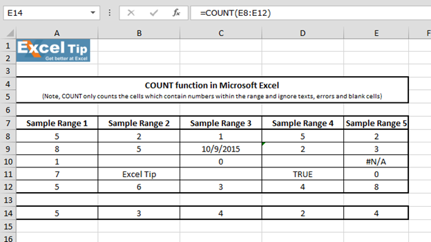 how to add count function in excel