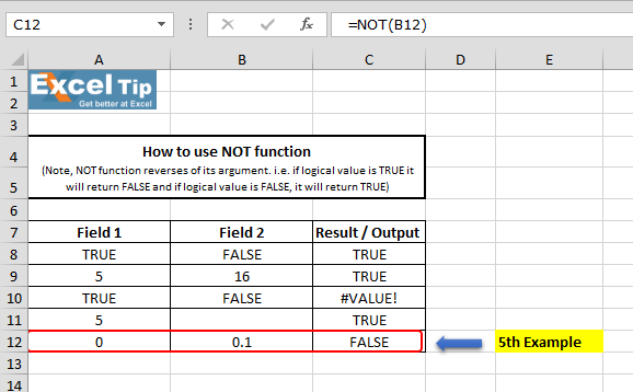 how to use not function in excel