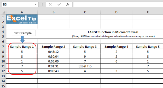 How to use LARGE function in Microsoft Excel | Microsoft ...