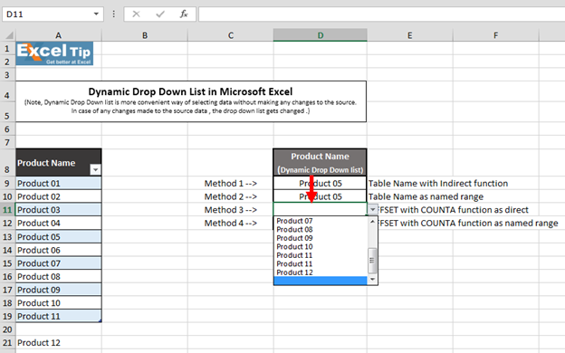 How to Create Dynamic Drop Down List in Excel Using 4
