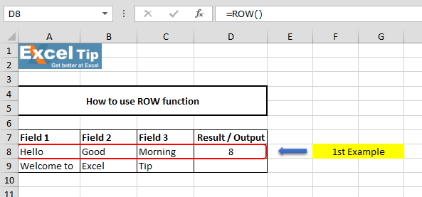 How To Use Row Function In Microsoft Excel Microsoft Excel Tips