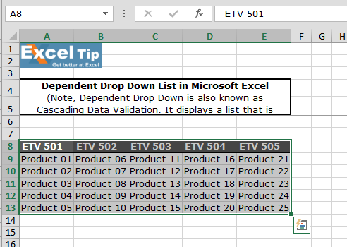 how to create a table in excel without drop down