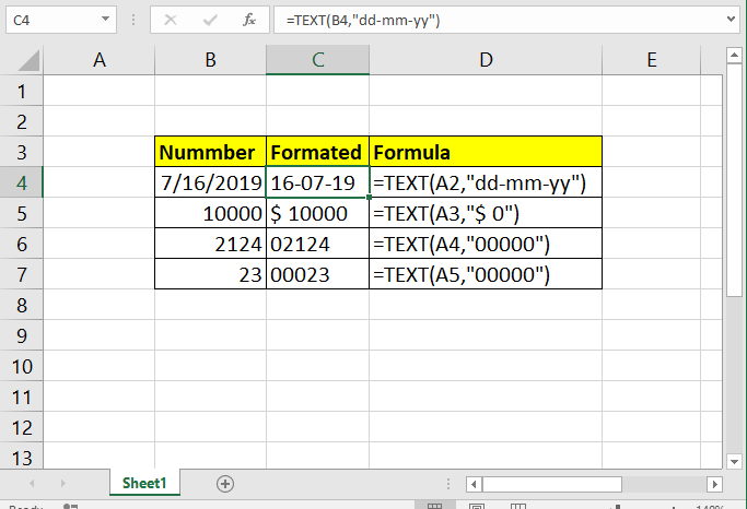 how to use text function in excel